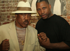 Joe Frazier and Marvis Frazier at the Philadelphia gym